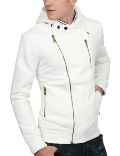 9Xis Mens Casual Fashionable Zip-Up Hood Jacket WHITE XL (9MO028)