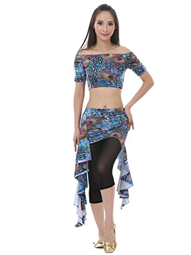 Dance Fairy Lake blue belly dance peacock waist skirt suit christmas gift