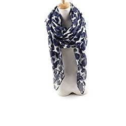 AngelShop Women Pure Color Dog Printed Encryption Scarves Shawl BYWJ