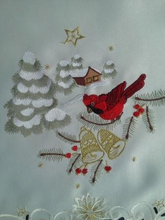 "24"" Christmas Holiday Placemat Embroidered With Red Cardinals front-1062053"
