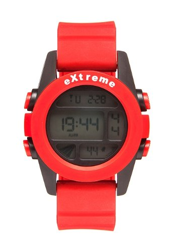 Addison Ross Unisex Quartz Watch with Lcd Dial Digital Display and Red Silicone Strap WA0503