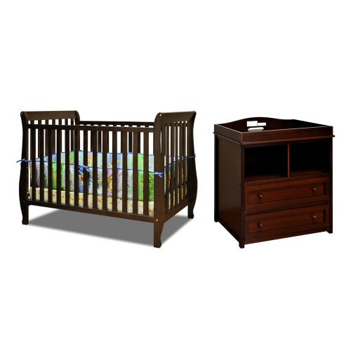Baby Mile Hannah 4-In-1 Convertible Crib With Toddler Rail And Lena 2 Drawer Changer, Espresso front-81089