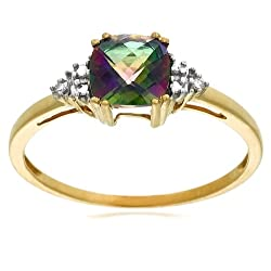 10k Yellow Gold June Birthstone Mystic Topaz and Diamond Ring