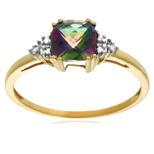 Mystic Topaz and Diamond Ring with 10k Yellow Gold