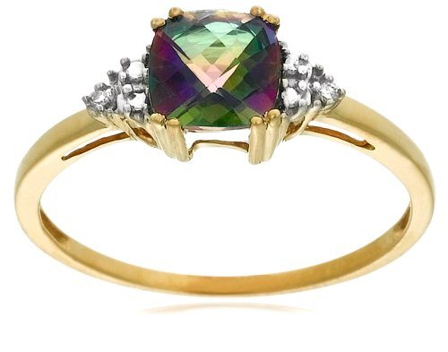 10k Yellow Gold, June Birthstone, Mystic Topaz and Diamond Ring, Size 6