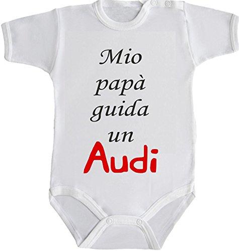 body-bimbo-bimba-neonato-pigiama-mio-papa-guida-un-audi-12-mesi-bianco
