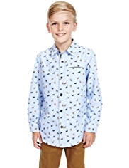 Autograph Pure Cotton Stag Print Shirt