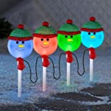 LED SyncroLights Glittering Snowman Color Changing Christmas Pathway Marker Lightshow - Set of 4
