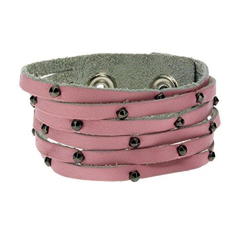"Women's 1"" Wide Plain Pink Genuine Leather Cuff Bracelet Wristband w/ Slits & Studs"