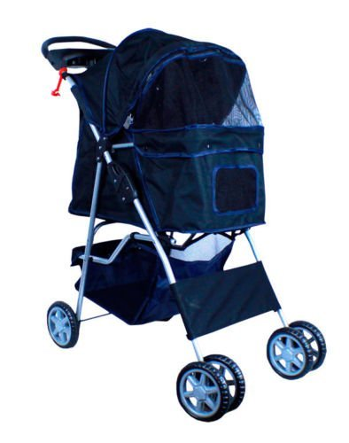 new-deluxe-folding-4-wheel-pet-dog-cat-stroller-carrier-w-cup-holder-tray-black-by-cielo-blue