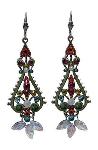 Anne-Koplik-Antiqued-Silver-Multicolor-Filigree-Earrings