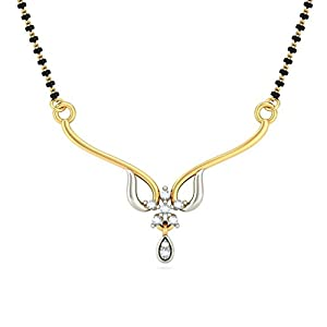 Certified 18K Yellow Gold 0.09 cttw White-Diamond (FG | VS) mangalsutra