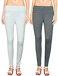 NGT Womens White And Grey Color Jegging In Special Quality.