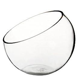 WGV Clear Slant Cut Bowl Glass Vase/Glass Terrarium, 6-Inch x 2.7-Inch