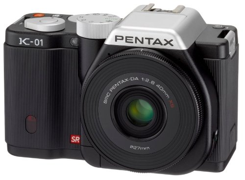 Pentax K-01 Compact System Camera with 40mm Pancake Lens - Black