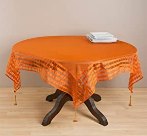 """Marissa Sheer Striped Border Tablecloth w/ Tassels. One Piece. (Terracotta Color, 60"""" Square)"""