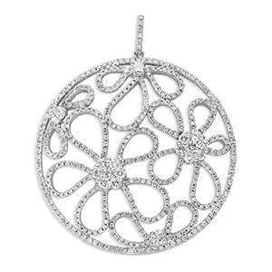 18k White Gold Diamond Pendant - JewelryWeb