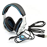 Sades Stereo 7.1 Surround Pro USB Gaming Headset with Mic Headband Headphone (White)
