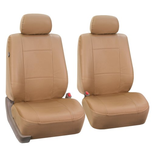 FH-PU001102 PU Leather Car Front Bucket Seat Covers Solid Tan color (Mazda 3 Leather Seat Covers compare prices)