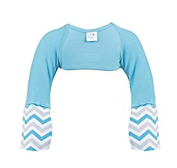 Scratch Me Not Flip Mitten Sleeves - Baby Boys\' Girls\' Stay On Scratch Mitts, 2T, Teal/Chevron