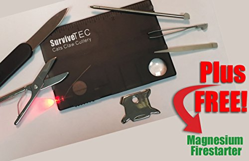 Best Credit Card multi tool & LED multitool for survival rescue travel camping fishing. FREE fire starter (limited). 16 in