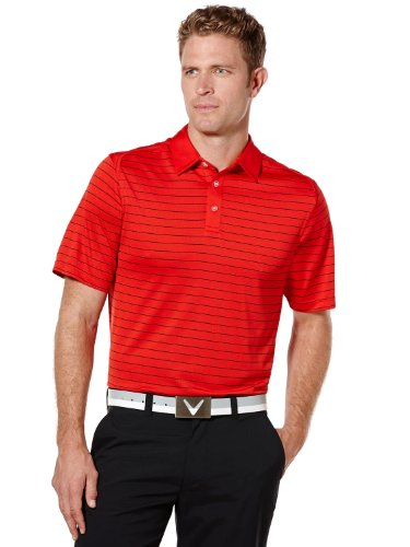 Callaway Men's Big and Tall Golf Performance Striped Detailing Short Sleeve Polo Shirt, Salsa, 3X