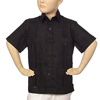 Boys linen short sleeve black guayabera.