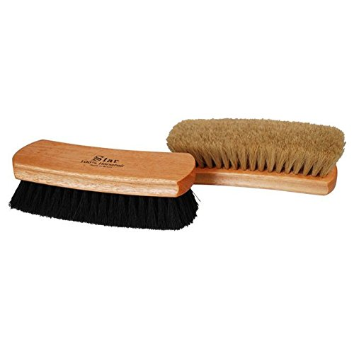 "Professional Shoe Shine Polish Buffing Brush Star Brush 100% Horse Hair 9"" long Neutral"