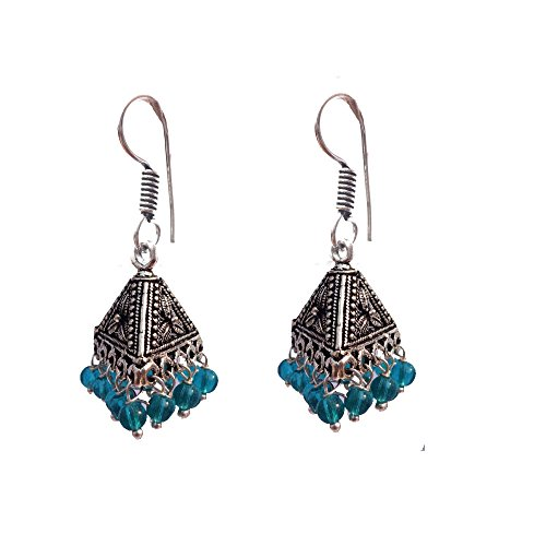 Kaizer Jewelry HandiCraft HandMade High Quality German Silver Triangle Flower Jhumki with Blue beads (Better than Oxidized) Jhumki Jhumka For Women / Girls (Gift)  available at amazon for Rs.199