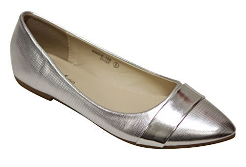 Bella Marie Angie-106 Women's pointy toe boat slip on patent band decor patent leather flats Silver 8