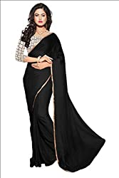 KRIZEL Black Nazneen Saree With Embroidery Blouse