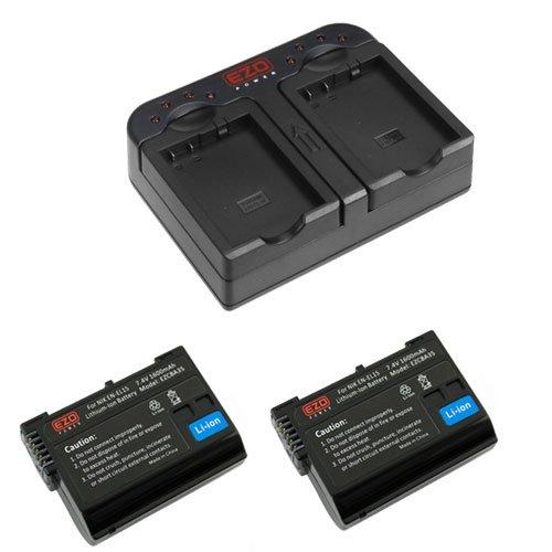 Ezopower 2 X En-El15 / Enel15 Full-Decoded Battery + Quick Dual Battery Charger With Car And Ac Adapters For Nikon 1 V1, D600, D810, D800, D800E, D750, D7000, D7100 Dslr Camera