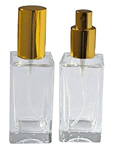 1 2/3 Oz (50 Ml) Empty Refillable Glass Perfume Bottle Atomizer Gold Lid