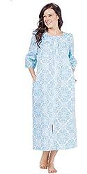 Miss Elaine Zip Front Long Seersucker Robe in Floral Blue