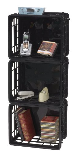 United Solutions-Organize Your Home Cr0254 Set Of Three Large Black Plastic Modular Crates - Plastic Stacking/Nesting/Organizing Boxes In Black 3 Pack front-8949