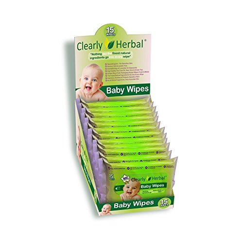 Clearly Herbal 15 count Herbal Baby Wipes ( 12 packs of 15 count = 180 wipes), Handy To Go Packs of Wipes (Wet Wipes Travel Flushable compare prices)