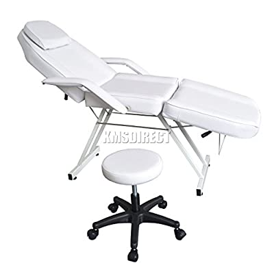 FoxHunter Beauty Salon Chair Balance Massage Table Tattoo Facial Pedicure Therapy Couch Bed With Stool FH-SBS-01 White