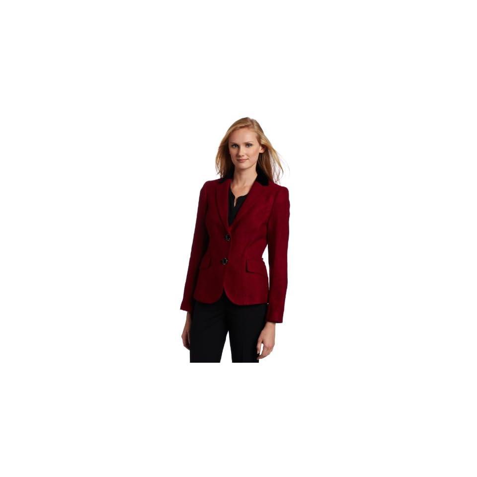 AK Anne Klein Womens Tonal Tweed Blazer, Magenta, 12