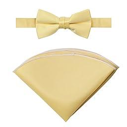 Spring Notion Boys\' Satin Bow Tie and Handkerchief Set Small Yellow