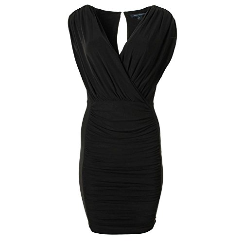 French Connection Womens Dallas Jersey Knee-Length Little Black Dress