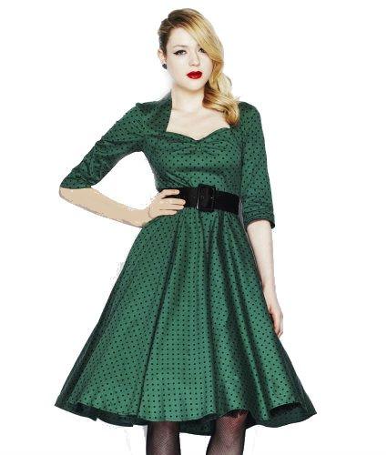 Hell Bunny -  Vestito  - A pois - Maniche a 3/4 - Donna verde 10