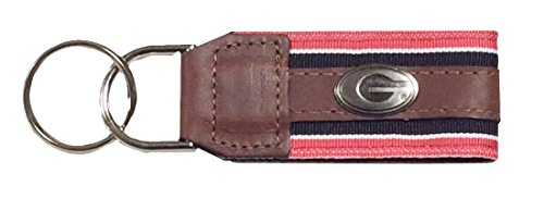 NCAA UGA Georgia Bulldogs Striped Ribbon Leather Concho Key Chain (Bulldog Mom Keychain compare prices)
