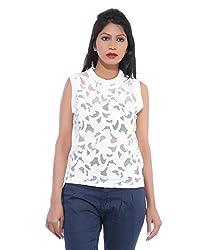 Avakasa Polyester White Embroidered Partywear Sleeveless Sleeves Top (top-03-white)