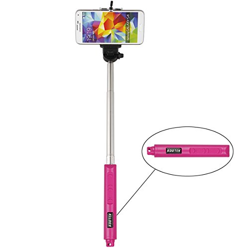 Kootek® Bluetooth Selfie Stick Self Portrait Shot Monopod Hand Grip With Remote Control Shutter And Built In Zoom In And Out Button For Iphone 6 5S 5C 5 4S 4 Ipad Mini Air 2, Samsung Galaxy S3 S4 Note 2 3, Htc One X, Lg G2 G4, Sony Xperia And Other Ios An