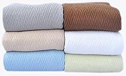Chocolate (Dark Brown) All Season Throw Blanket Chevron Design Full Queen Size 90� x 90� 100% Cotton Ultra Cozy Lightweight Summer Blanket Collections by Trendsetter Homez