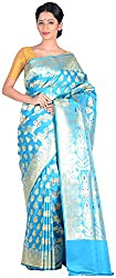 Sree Howrah Stores Women's Silk Saree with Blouse Piece (Peacock Blue)