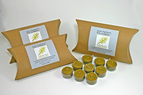 Bee Man Hand-Poured Real Bayberry Wax Tealight Candles Box Of 9