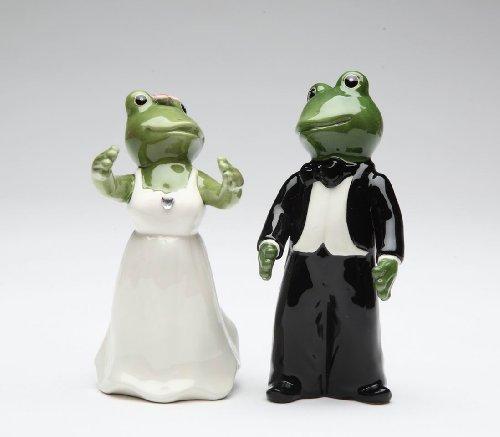 Appletree Design Frog Wedding Couple Salt and Pepper Set, Man 4-1/8-Inch, Woman 3-3/4-Inch