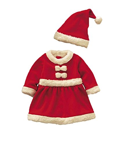 Womdee Baby Girls Christmas Santa Claus Dress and Hat Outfit With Womdee Accessory
