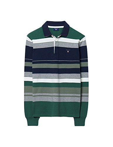 Gant Gant Men's O1. Multi Color Stripe Heavy Rugger-Polo Uomo    Green (Pine Green) X-Large